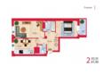 Жилой комплекс НА КИРОВА, ж/к, 1 дом: Планировка двухкомнатной квартиры 61,46 кв.м