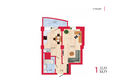 Жилой комплекс НА КИРОВА, ж/к, 1 дом: Планировка однокомнатной квартиры 33,71 кв.м