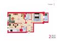 Жилой комплекс НА КИРОВА, ж/к, 1 дом: Планировка двухкомнатной квартиры 59,33 кв.м