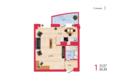 Жилой комплекс НА КИРОВА, ж/к, 2 дом: Планировка однокомнатной квартиры 34,35 кв.м