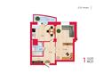 Жилой комплекс НА КИРОВА, ж/к, 1 дом: Планировка однокомнатной квартиры 44,21 кв.м