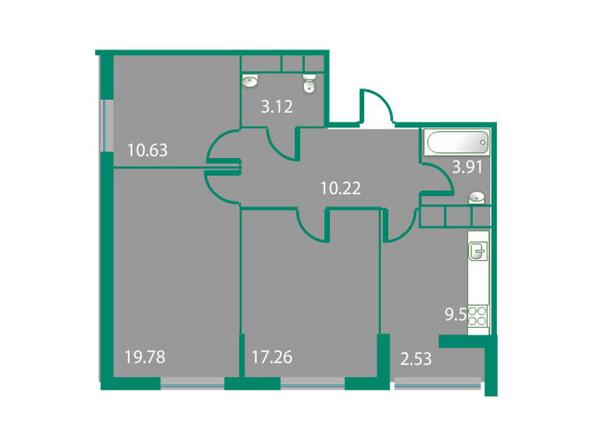 Планировки Жилой комплекс ИЗУМРУДНЫЙ БЕРЕГ ж/к, 1.1 дом - Планировка трехкомнатной квартиры 74 кв.м