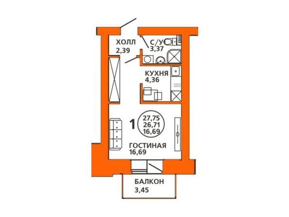 Планировки Жилой комплекс ДОМА НА ЛУГОВОЙ ж/к, 1 дом - Планировка однокомнатной квартиры 27,75 кв.м