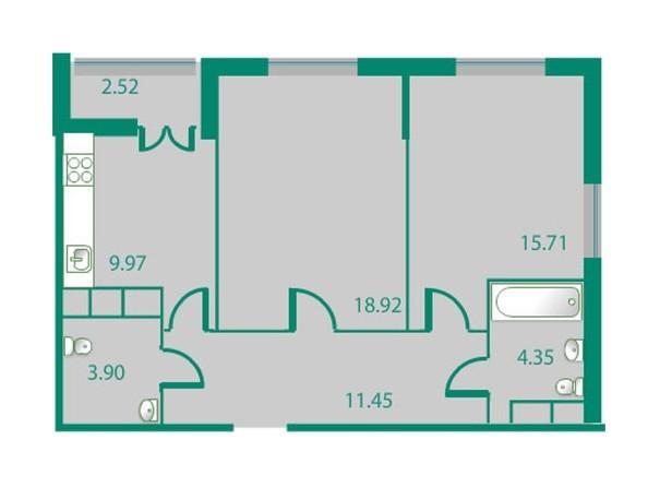 Планировки Жилой комплекс ИЗУМРУДНЫЙ БЕРЕГ ж/к, 1.1 дом - Планировка двухкомнатной квартиры 65,64 кв.м