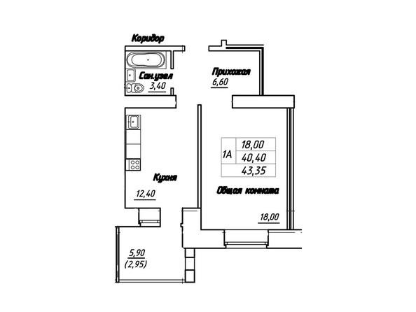 Планировки Жилой комплекс Королева, 3/1 - Планировка однокомнатной квартиры 43,35 кв.м