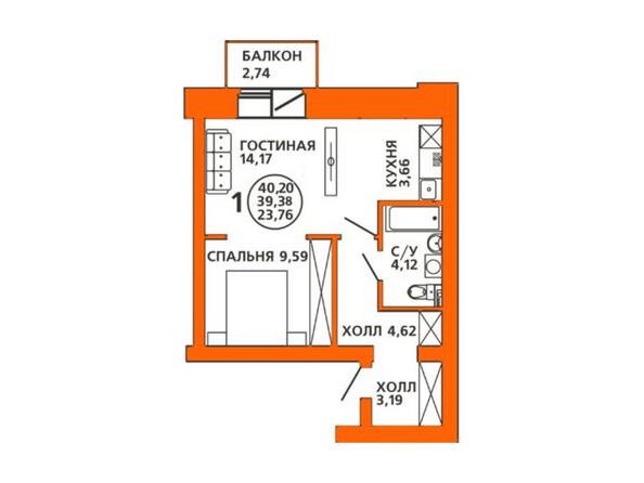 Планировки Жилой комплекс ДОМА НА ЛУГОВОЙ ж/к, 1 дом - Планировка двухкомнатной квартиры 40,2 кв.м