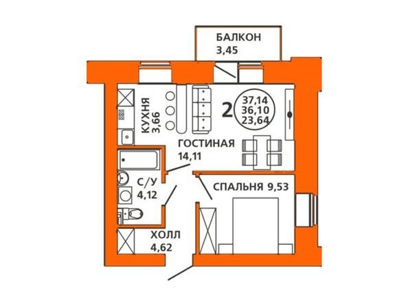Планировки Жилой комплекс ДОМА НА ЛУГОВОЙ ж/к, 1 дом - Планировка двухкомнатной квартиры 37,14 кв.м