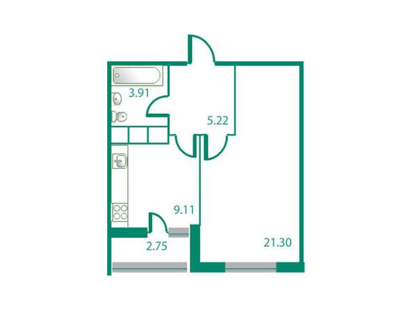 Планировки Жилой комплекс ИЗУМРУДНЫЙ БЕРЕГ ж/к, 1.2 дом - Планировка однокомнатной квартиры 40,92 кв.м
