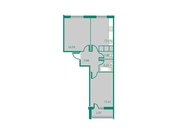 Планировки Жилой комплекс ИЗУМРУДНЫЙ БЕРЕГ ж/к, 1.1 дом - Планировка двухкомнатной квартиры 56,72 кв.м