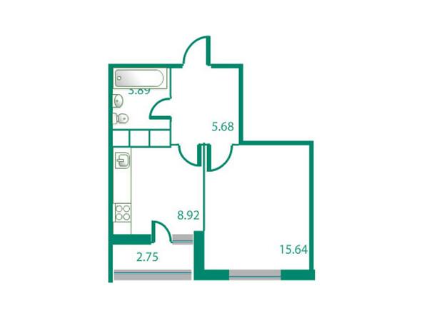 Планировки Жилой комплекс ИЗУМРУДНЫЙ БЕРЕГ ж/к, 1.2 дом - Планировка однокомнатной квартиры 35,51 кв.м