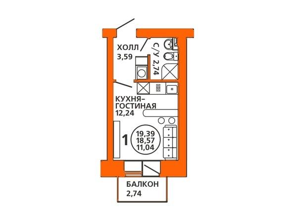 Планировки Жилой комплекс ДОМА НА ЛУГОВОЙ ж/к, 1 дом - Планировка однокомнатной квартиры 19,3 кв.м