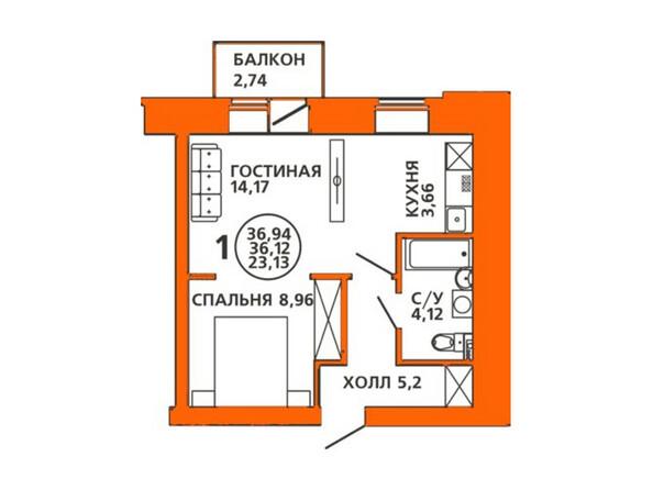 Планировки Жилой комплекс ДОМА НА ЛУГОВОЙ ж/к, 1 дом - Планировка двухкомнатной квартиры 36,94 кв.м