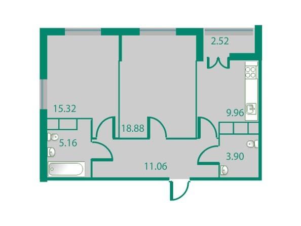 Планировки Жилой комплекс ИЗУМРУДНЫЙ БЕРЕГ ж/к, 1.2 дом - Планировка двухкомнатной квартиры 64,4 кв.м