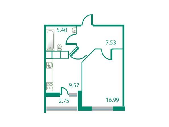 Планировки Жилой комплекс ИЗУМРУДНЫЙ БЕРЕГ ж/к, 1.1 дом - Планировка однокомнатной квартиры 40,87 кв.м