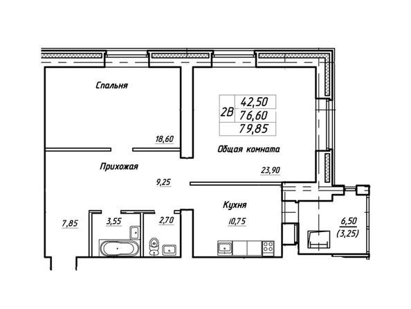 Планировки Жилой комплекс Королева, 3/1 - Планировка двухкомнатной квартиры 79,85 кв.м