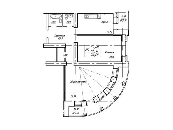 Планировки Жилой комплекс Королева, 3/1 - Планировка двухкомнатной квартиры 96,6 кв.м