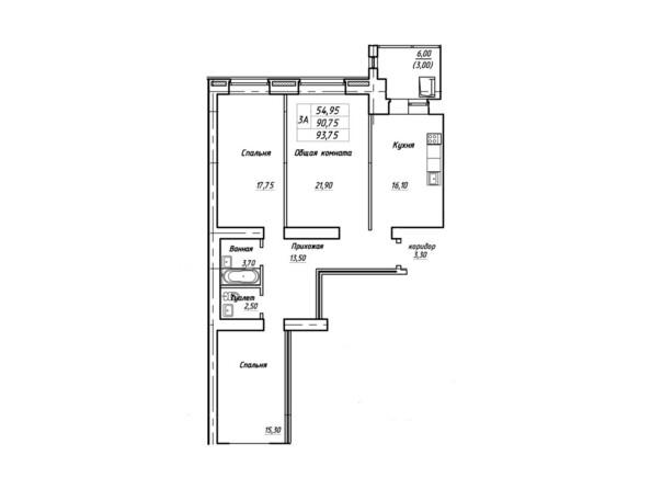Планировки Жилой комплекс Королева, 3/1 - Планировка трехкомнатной квартиры 93,75 кв.м
