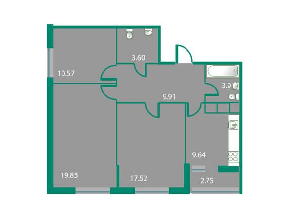 Планировки Жилой комплекс ИЗУМРУДНЫЙ БЕРЕГ ж/к, 1.2 дом - Планировка трехкомнатной квартиры 76,38 кв.м
