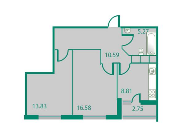 Планировки Жилой комплекс ИЗУМРУДНЫЙ БЕРЕГ ж/к, 1.2 дом - Планировка двухкомнатной квартиры 56,46 кв.м