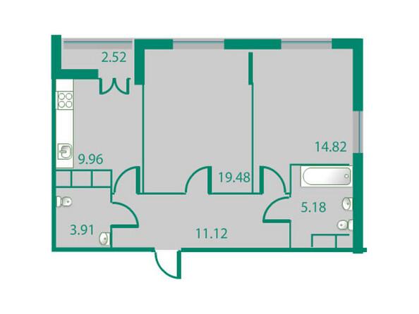 Планировки Жилой комплекс ИЗУМРУДНЫЙ БЕРЕГ ж/к, 1.1 дом - Планировка двухкомнатной квартиры 65,73 кв.м