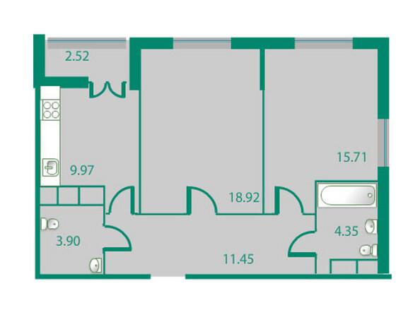 Планировки Жилой комплекс ИЗУМРУДНЫЙ БЕРЕГ ж/к, 1.2 дом - Планировка двухкомнатной квартиры 65,64 кв.м