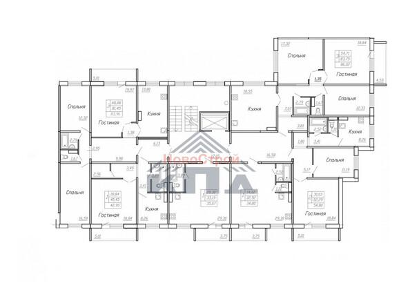 Планировки Жилой комплекс МОДЕРН-2 ж/к - Планировка типового этажа